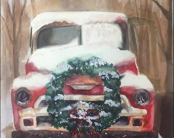 Snowy Vintage Red Truck Print