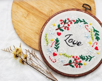 Love Flower Wreath Embroidery Hoop Art