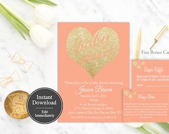 Coral Baby Shower Invitation Template Printable, Instant Download Girl Baby Shower Invitation, Gold Glitter Peach Baby Shower Invite Digital