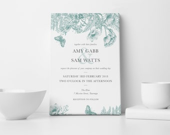 Maddy & Me - Floral white and green wedding invitation