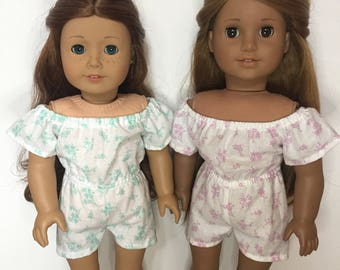 White Floral Romper made to fit 18 inch dolls such as American Girl dolls