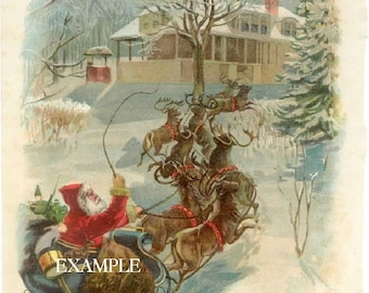 Christmas Victorian Santa in Sled*Instand digital download