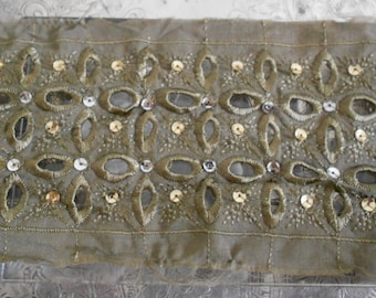 Khaki Stitched Sequined Trim