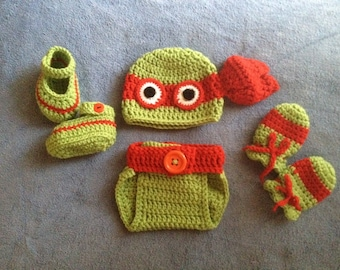 Crochet baby Ninja Turtle outfit