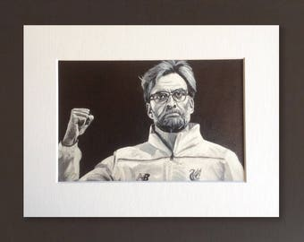 JURGEN KLOPP LFC wall art - giclee print of 'The Finalist' original acrylic painting by Stephen Mahoney - Liverpool boss in triumphant pose