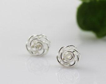 sterling silver rose stud earrings, rose earrings, rose, rose flower earrings, rose flower stud earrings, wired rose earrings