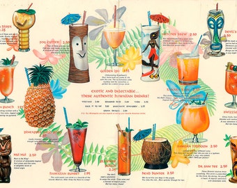 Mixed drinks blueprint 23x34 cocktail tiki tropical mixed drink menu 18x26 hawaiian cocktails giclee canvas gallery wrap malvernweather Choice Image