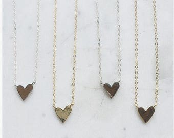 Simplistic Golden Heart Necklace on Delicate 14k Gold Filled Chain