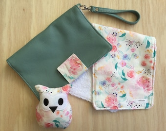 Value Set- The Deluxe Nappy Wallet with matching burp cloth and rattle - The handmade Leather Nappy Wallet with it all!