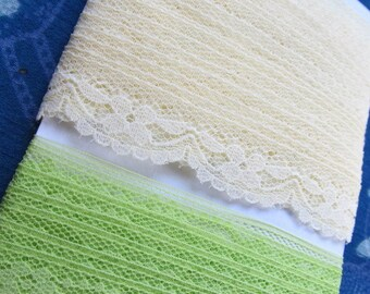 LACE granny smith green, banana yellow (over 5 1/2 yards total)