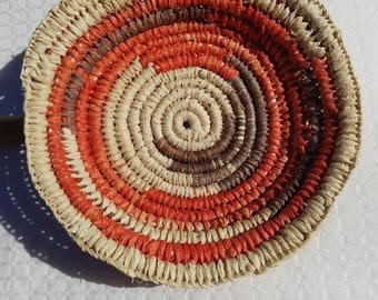 Orange and Brown Raffia Basket