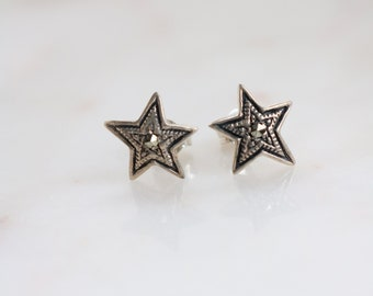 Sterling Marcasite Star Stud Earrings