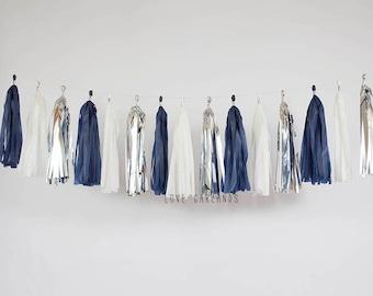 Ivory, Silver, Navy Blue Tassel Garland, Navy Silver Garland, Navy Silver Wedding, Navy Silver Bridal Shower, Navy Silver Baby Shower