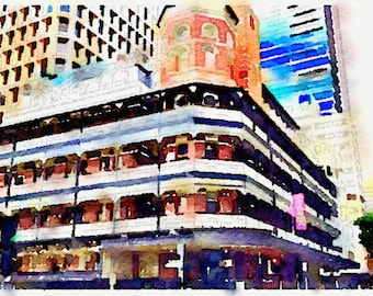 Watercolor Print - Brisbane Palace Backpackers - Cityscape