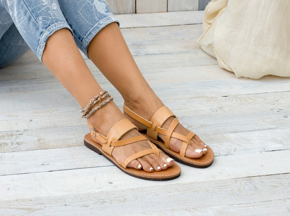 leather Leather flat ACROPOLIS sandals leather greek sandals sandals sandals 1pCPxq