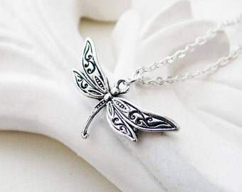 Silver Dragonfly Necklace | Silver Necklace | Woodland Jewelry