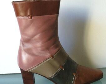 Vintage Industria Argentina Color Block Boots Size 35EU