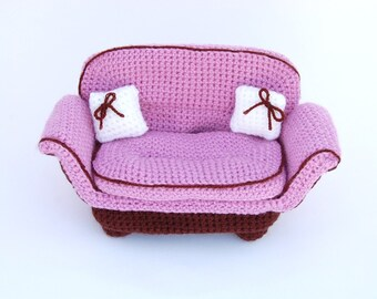 amigurumi pattern - wide pink armchair