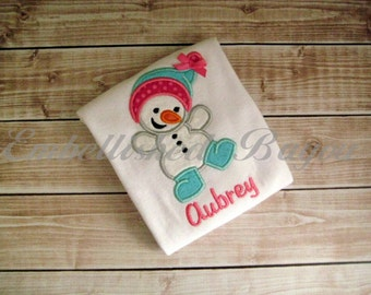 Snowman Applique T-shirt or Onesie Bodysuit for Girls or Boys Personalized