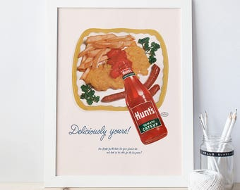 HUNTS KETCHUP AD  - Vintage Kitchen Poster  - Vintage Ad, Retro Mid-Century Ad, High Quality Reproduction,