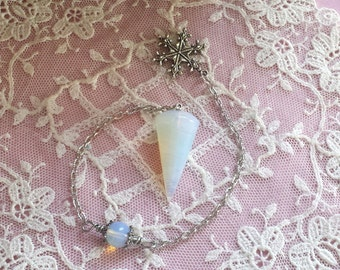 Opalite Crystal Pendulum, Winters Magic Snowflake Pendulum