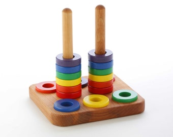 Wooden Stacker Toy - Ring Stacking Toy - Montessori