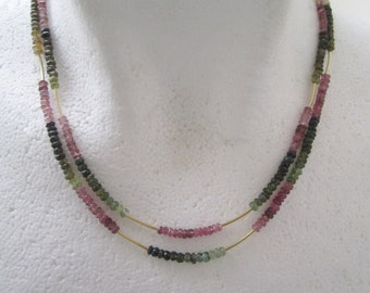 Two Strand Tourmaline Necklace Mixed Color Gemstones With Goldfilled Tube Beads. Collier Pierres . Made in Sweden