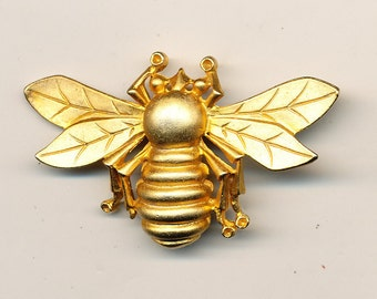 VIntage Gold Tone Extra Large Bee Button - ca. 1980's Over 2 Inches wide