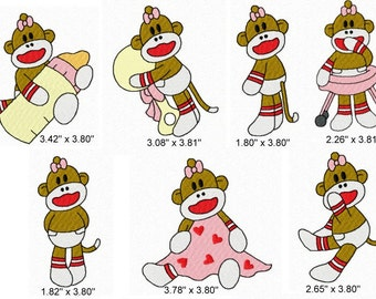 21 Baby Girl Sock Monkey Machine Embroidery Design Files 4x4 Set #1