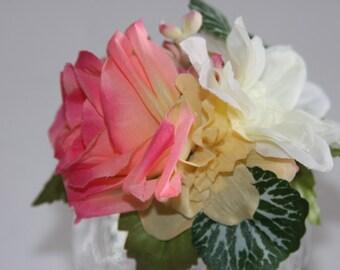 Wedding hair piece, Bridal hair clip, Bridal fascinator, Bridal flower clip, Wedding hair clip, Pink & cream rose hair clip, french barrette