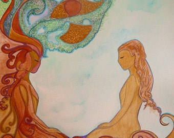 Womanhood art-Divine feminine art-Original painting-Small painting-To be and to have-Gioia Albano art-Feminine image-woman day-sketch friday