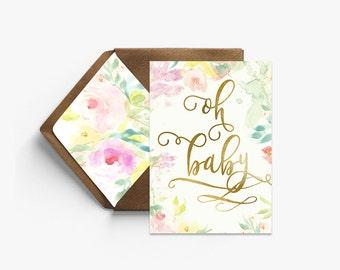 Oh Baby Real Foil Card + Kraft Envelopes --- B002