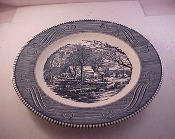 """Currier & Ives 10"""" Ceramic Plate by Royal Made in USA Dinner Plate - The Old Grist Mill - Blue and White"""