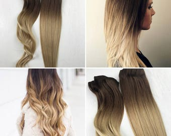 Brown To Blonde Ombre Dip Dyed Human Hair Extensions, half Set Clip In Extensions, Hippie, Festival, Blonde Tips, Hair Wefts