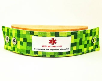 Kids Medical Alert Bracelet Child ID Bracelet Allergy Alert Clothing Autism Safety Band Green Pixel