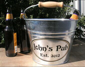 Father's Day Gift, Personalized Gifts for Dad - Galvanized Metal Bucket, Beer Bucket, Ice Bucket - Large Size (6qt)