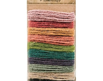 Tim Holtz Idea-ology Assorted Jute Twine,30 Yards, 3 Yards each 10 Colors of Natural String