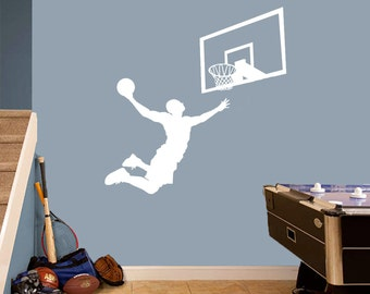 Basketball Player Slam Dunk Backboard - Wall Decals - Sports Quotes, Graphics, Designs