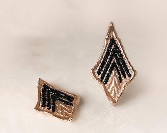 V Earrings ,Statement Earrings, Electroformed, Silver, Rose Gold Plated