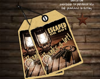 INSTANT DOWNLOAD Escape Room Party Favor Thank You Tags - Instant Download - Coordinating with Invitations - Printable Digital File