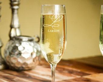 2 Custom Champagne Glasses, Personalized Champagne Flutes, Custom Engraved Champagne Glasses: Wedding Toast, Bridal Party, Housewarming