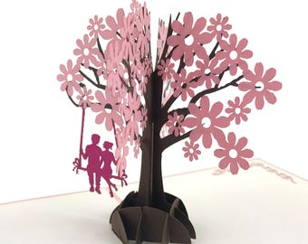 Lovers in a Pink Cherry Blossom Tree Pop up 3d card