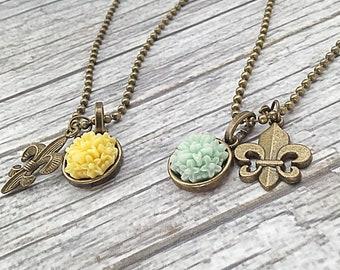 Fluer De Lis and Dahlia Necklace  - Spring in France Necklace