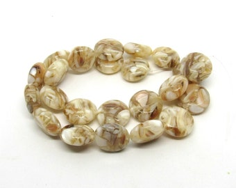 16mm Mother of Pearl in Resin Puffed Flat Round Bead Strand (B499f)