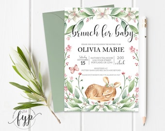 Brunch For Baby Invitation Girl Baby Shower Invite