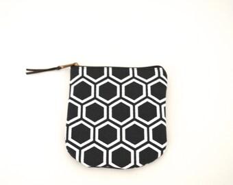 Black cotton pouch, Screenprint japanese pattern coin purse, Small zipper pouch, Fabric pouch