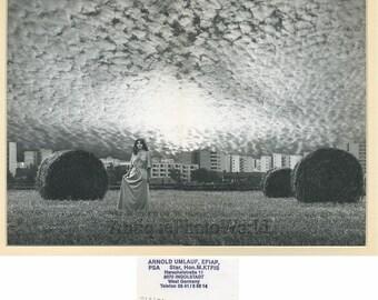 Woman on field art photo montage by A. Umlauf Czech