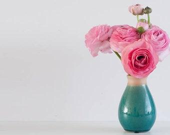 Ranunculus in green vase -  - INSTANT DOWNLOAD - Styled Stock - Styled photography - Photography - Ranunculus Photography - Green - Stock