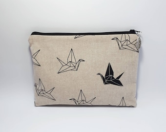 Cotton bag bag with fancy origami heron and back in black vegan leather