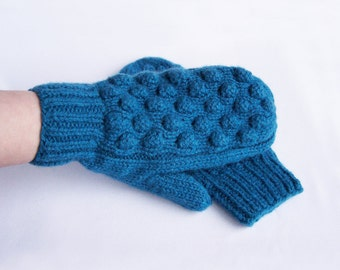 Blue  mittens Woman teen knit chunky wool mittens Warm cozy mittens For medium size L and XL